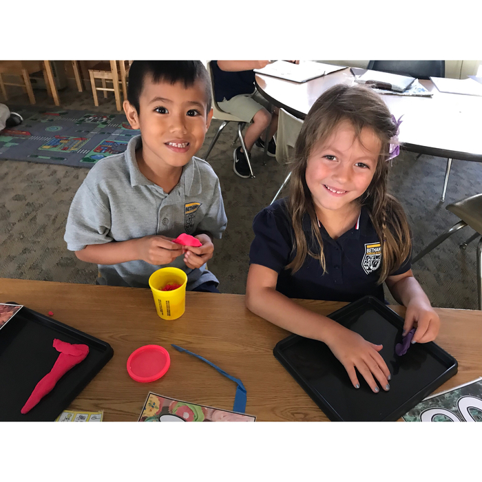 Here are two students in Kindergarten at the word work station during daily 5!