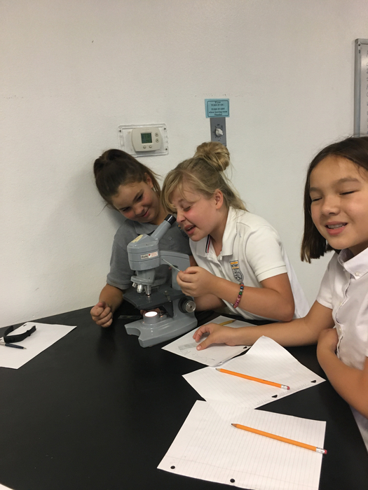 Savanna, Natalie, and Londyn using the microscope.