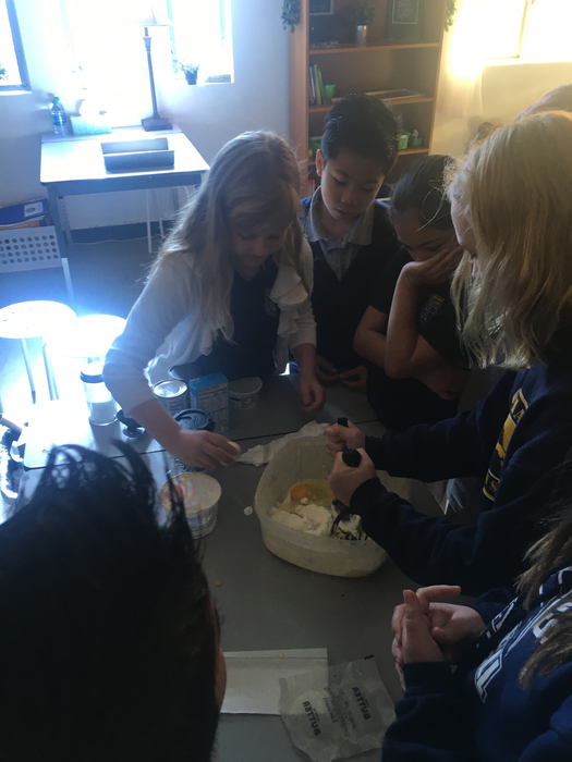 Corn pudding in fifth grade. We love cooking!