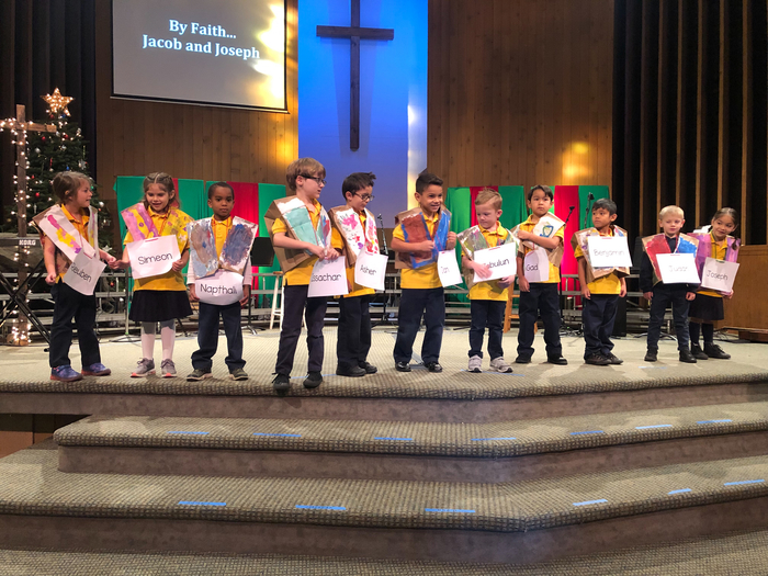 "The Kindergarteners did a great job leading chapel by singing the song. ""Jacob and Sons"" in their own technicolor dream coat!"