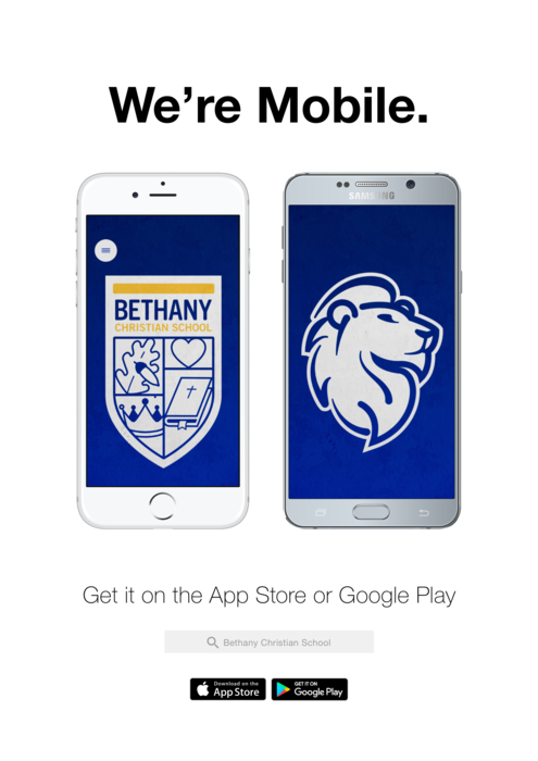 we're mobile. download Bethany Christian's mobile app on the google play or apple store