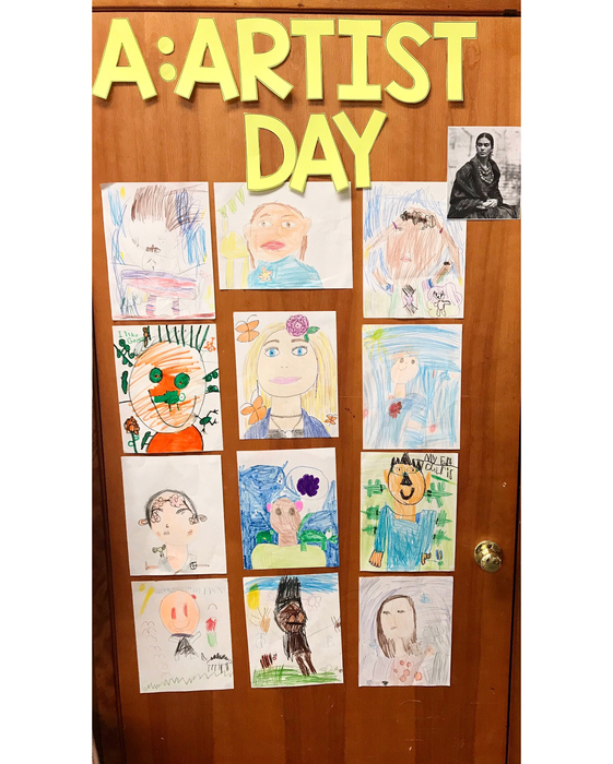 Today the Kindergarteners began their ABC countdown! We started with A for artist day. We studied about Frida Kahlo and her amazing self portraits. The only requirements were to make sure they looked realistic, had flowers and an animal somewhere on the page. They did a GREAT job!