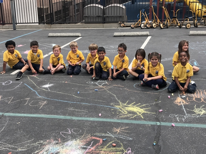 You may have seen what the Kindergarten class did for letter C today during pick up...CHALK!