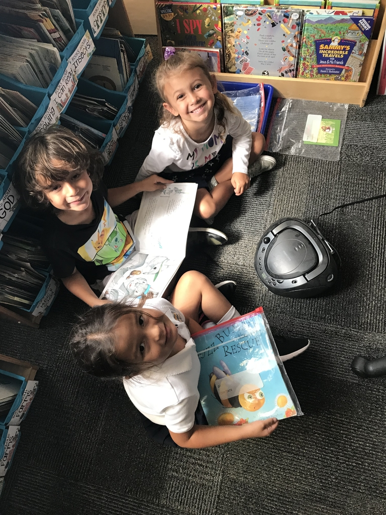 "Today we started Daily 5 in kindergarten. These students were at the ""listen to reading"" station."