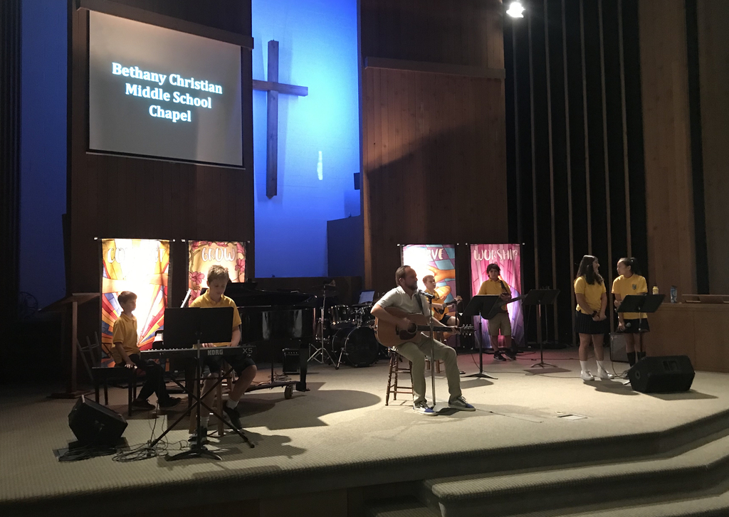 The debut of the Middle School worship band.
