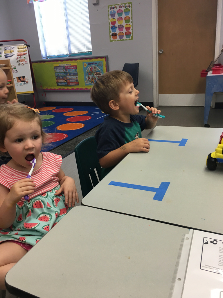 Brushing our teeth in preschool