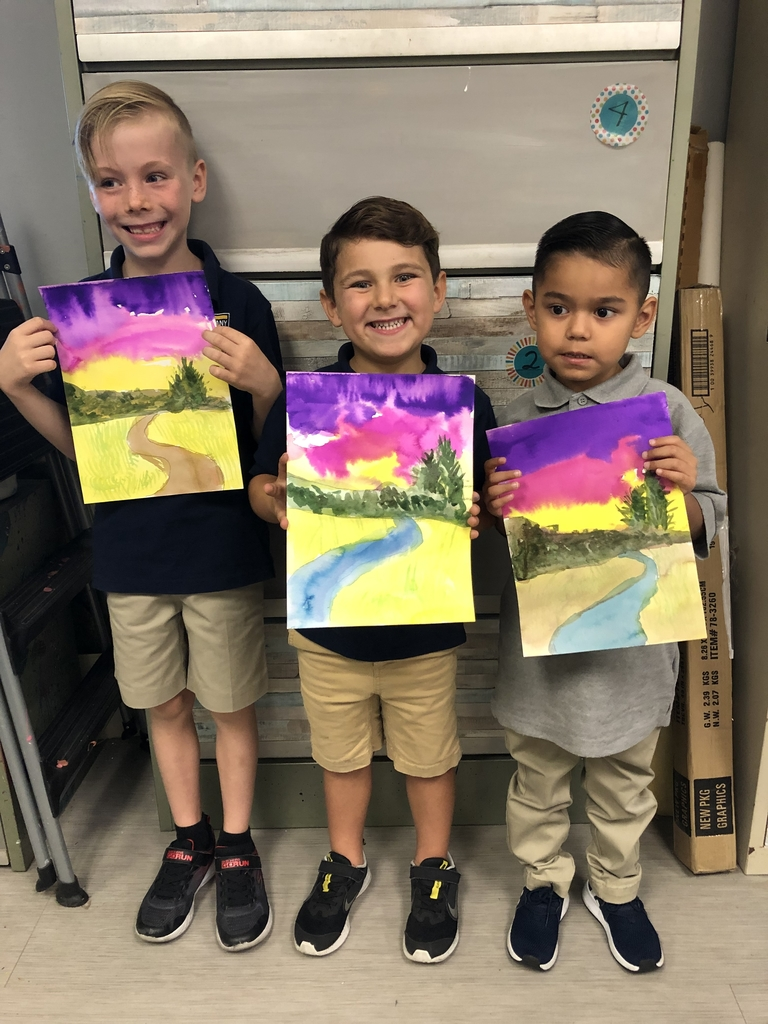 Look at those sunset skies in the watercolor landscape paintings by our kindergarten and 1st grade Homeschool Enrichment students!