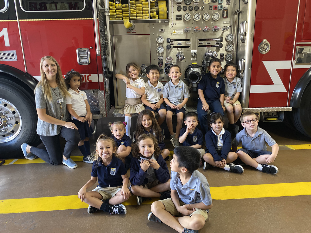 The kindergarten class went on their first field trip today! They went to the fire station and police department. Perfect timing, this week is fire safety week.