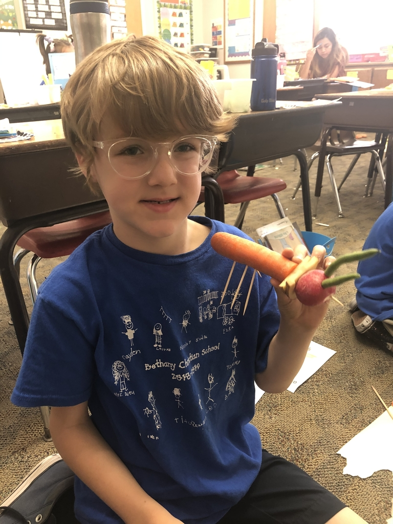First grade made veggie insects today as we learned about classifying.