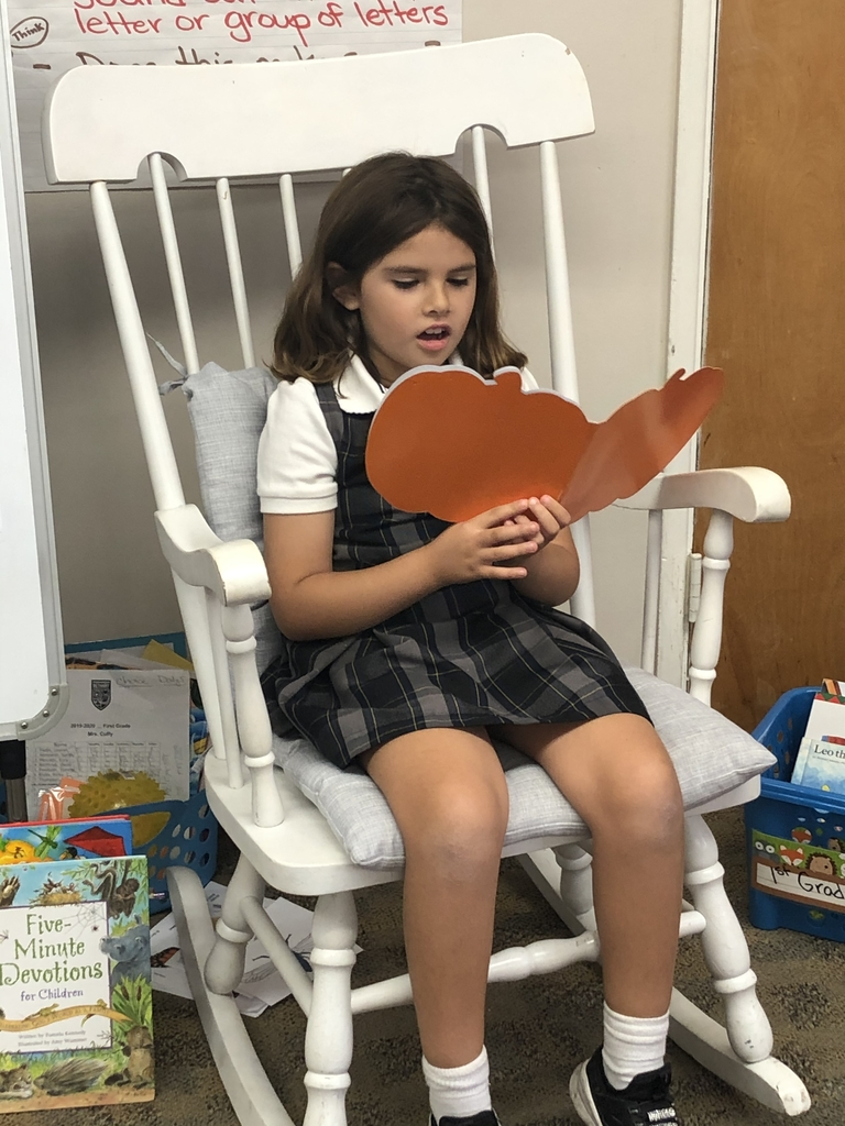 First grade made their first books and read their pumpkin stories during Author's Chair.