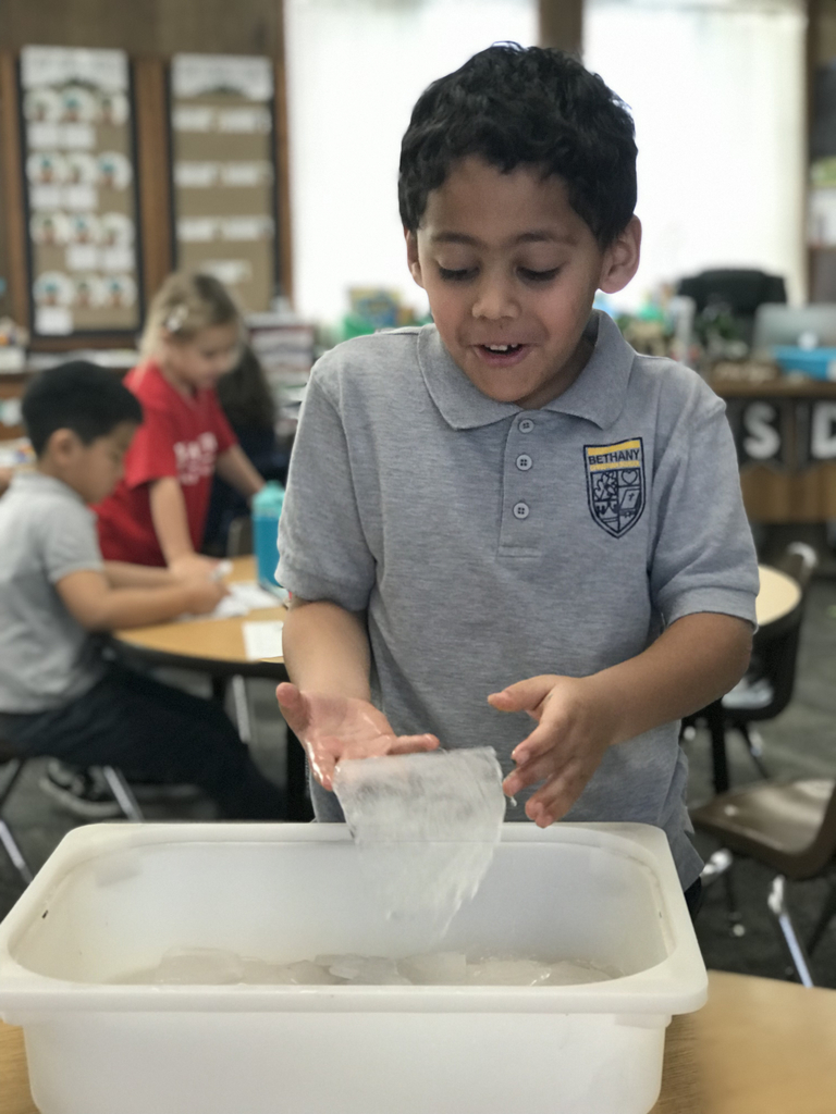 Today was the end of week one of our arctic animals unit! We learned all about penguins and how they have special feathers that help them slide on ice. We then did a science experiment testing different items in our classroom to see if they can slide or not. After our experiment, we played with the leftover ice!