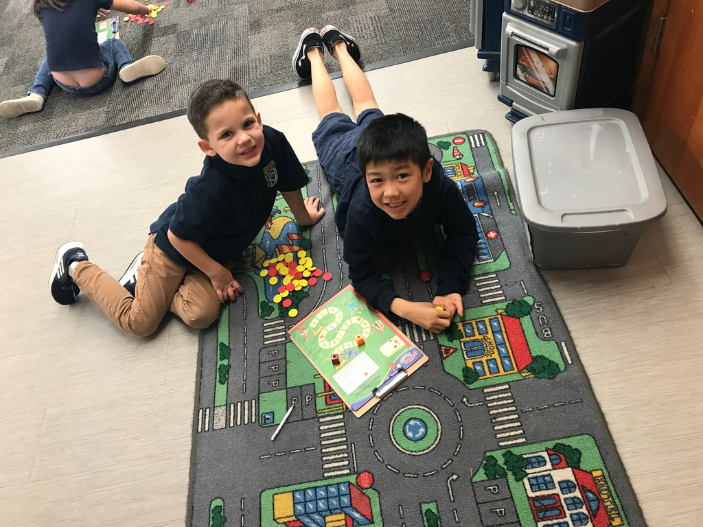 We love playing math games! #bcslions #kindergartenmath