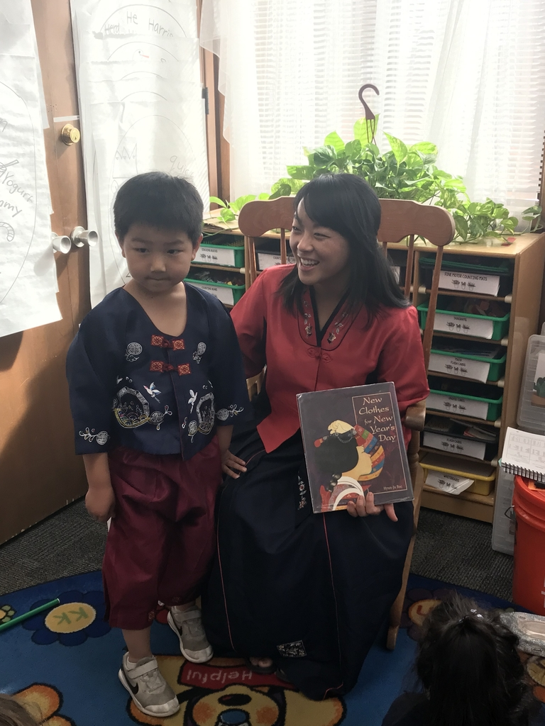Mrs. Suh came to the kindergarten class to share about her Korean heritage. She wore a beautiful gown, and her son Samuel even wore traditional clothes as well. We are blessed to be able to learn more about what makes each of us unique. #bethanylions #kindergarten #studentfocused