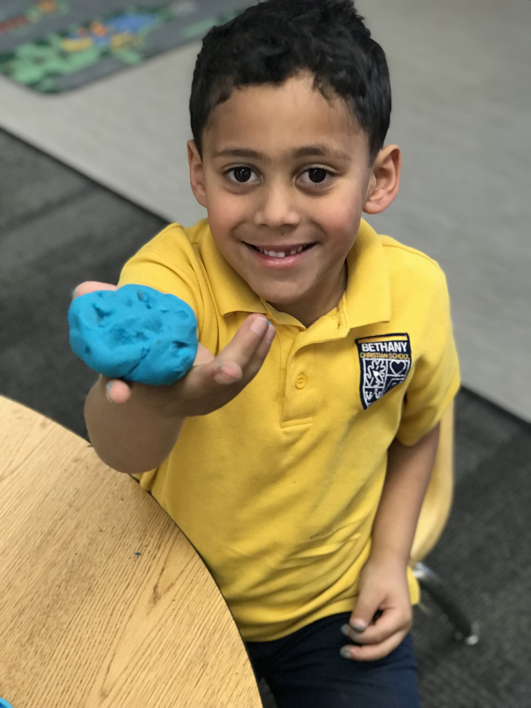 We learned that the moon has craters so we thought we would make craters in playdoh! #bcslions #kindergarten