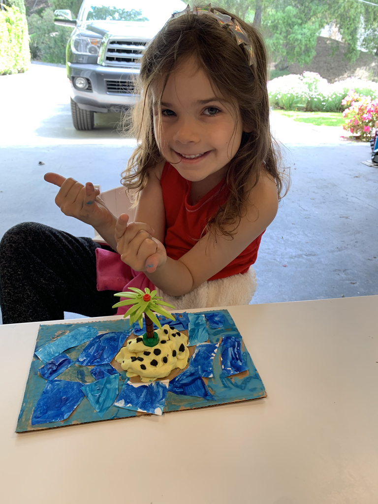 The Kindergarten class has been learning about landforms and maps in social studies! One student chose to make a diorama of an island. Notice all her detail in the water, the sand, and the fancy palm tree. She even did an amazing oral report. Distance learning can be fun! #bethanylions #kindergartensocialstudies #landforms #maps #kindergarten