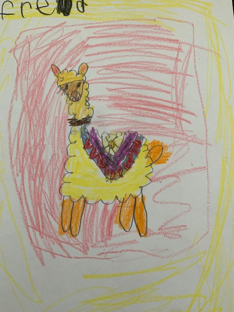 "The kindergarten class is doing the ""ABC Countdown Until Summer!"" Last Friday was letter ""d"" and we celebrated with a directed drawing of a llama. #bethanylions"